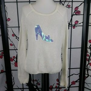 LC Disney Cinderella Sequined Soft Knit Sweater